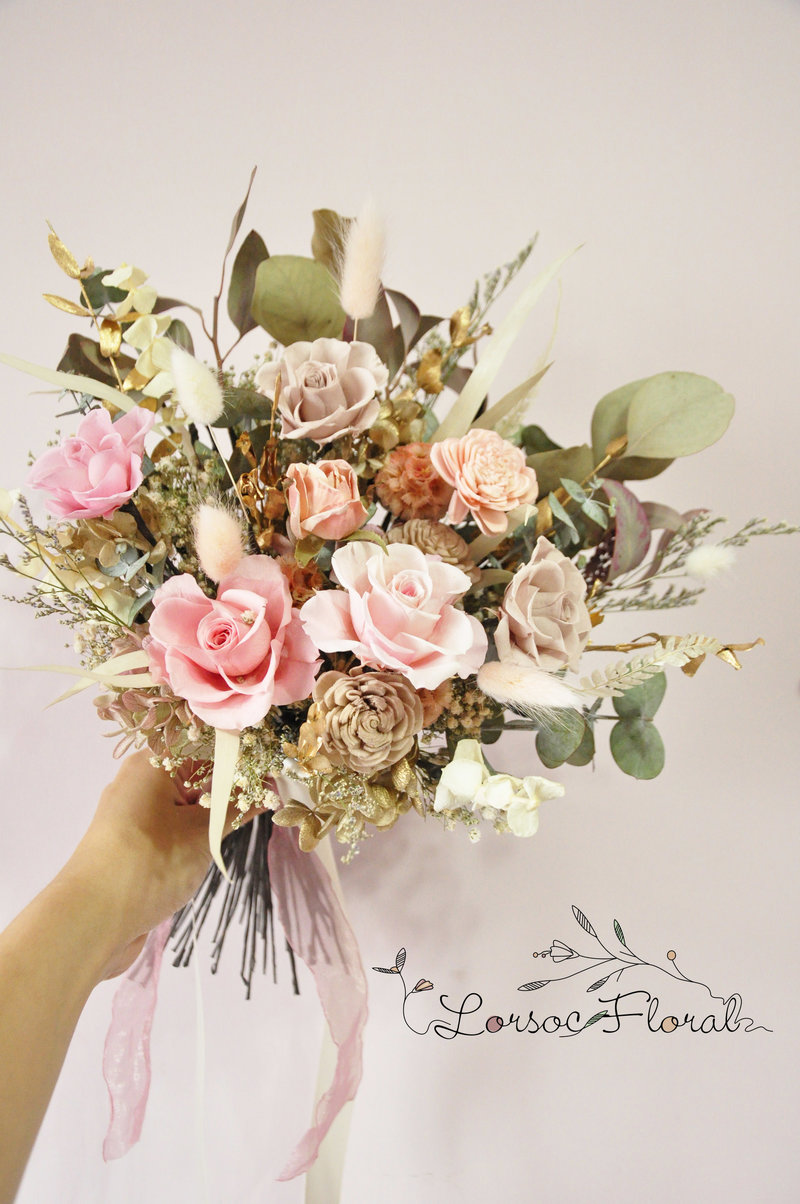 自然手綁型永生捧花 乾燥捧花 新娘捧花作品