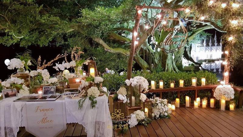 白金色系戶外婚禮晚宴